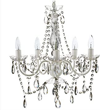 5 Light Crystal White Hardwire Flush Mount Chandelier