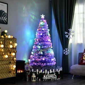 Fiber Optic LED Pre-Lit Holiday Christmas Tree, White and Blue
