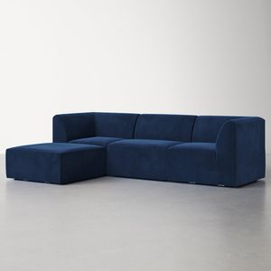 Busby 136'' Polyester Blend Reversible Modular Corner Sectional with Ottoman