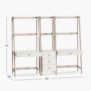 Highland Double Wall Desk & Narrow Bookcase Set