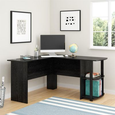 L-Shaped Black Oak Computer Desk by Ameriwood Home