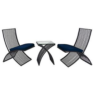 Modern Black Metal and Glass Outdoor Chairs and Table by Harper & Willow