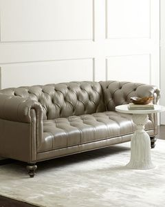Morgan Gray Chesterfield Leather Sofa by Old Hickory Tannery