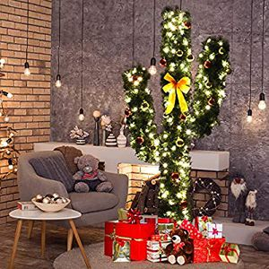 Pre-Lit Artificial Cactus Christmas Tree with LED Lights