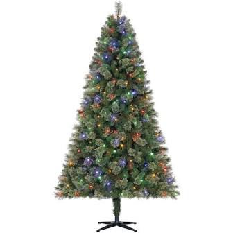 Pre-Lit Augusta Pine Artificial Christmas Tree, Color Changing LED Lights by Ashland