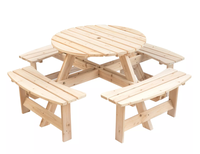 Wooden Outdoor Patio Garden Round Picnic Table with Bench, 8 Person