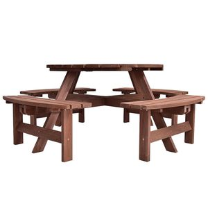 Boutelle Round 8-Person Picnic Table by Gracie Oaks