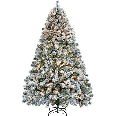Yaheetech Pre-lit Flocked Artificial Christmas Tree Snow Frosted Christmas Tree
